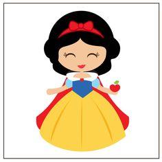 Branca de Neve toda feliz com sua maçã