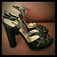 DOLCE & GABBANA Black Patent Leather sandals 8.5 Made in Italy ..Leather soels.moderate scuffing ...Worn twice ...Very good condition...Silver metal buckle closure at side Size: 38.5 Color : Black Style : Platform & Wedges Dolce & Gabbana Shoes Heels