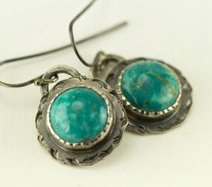 Kingman Turquoise Earrings  Concho Style Sterling by PPennee