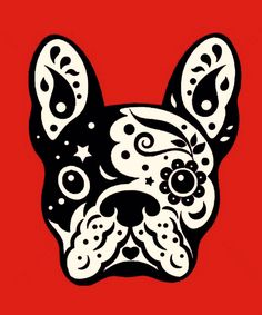 French Bulldog, Day of the Dead Sugar Skull, illustration