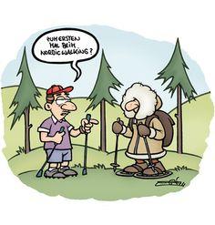 La marxa nòrdica també és present als comics europeus.  www.nordicwalking-girona.blogspot.com
