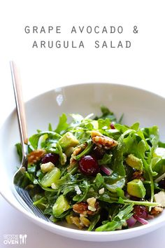 This Grape, Avocado and Arugula Salad is full of amazing, fresh flavor. And it… This Grape, Avocado and Arugula Salad is full of amazing, fresh flavor. And it's easy to make. And naturally gluten-free. Healthy Recipes, Healthy Nutrition, Vegetarian Recipes, Cooking Recipes, Cooking Rice, Cooking Games, Child Nutrition, Detox Recipes, Mexican Recipes