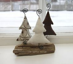 Fabric trees and driftwood. In neutral colors you can use these all winter