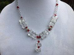 Crystal Quartz Bead Necklace, Clear Bead Necklace, Holiday Bead Necklace, Winter Bead Necklace, Sparkly Bead Necklace, Party Bead Necklace