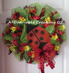 Ladybug..Daisies Deco Mesh Wreath by ADoorableCreations05 on Etsy, $89.00