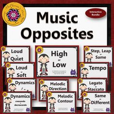 Your elementary music students will have fun reviewing music opposites (music comparatives) with these interactive music games! Excellent music education resource!