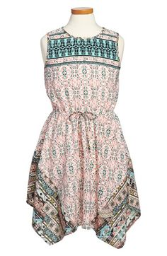 Monteau Couture Print Handkerchief Dress (Big Girls) available at #Nordstrom
