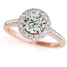 3/4 Carat Purity Lily Halo Diamond Engagement Ring in 14k Rose Gold... ($5,129) ❤ liked on Polyvore