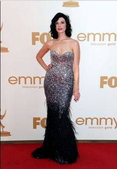 Jessica Pare of Mad Men on the Emmy Red Carpet - Dressed by Kallah Maguire of The Emerald Scarab (http://emeraldscarab.com/)