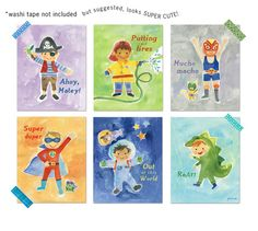 Boy, Oh Boy Wall Cards by Jill McDonald - perfect for a little boy's room