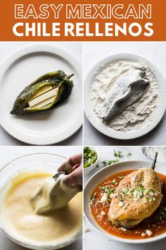 An authentic chile relleno recipe made from roasted poblano peppers stuffed with cheese dipped in a fluffy egg batter and fried until golden brown! This traditional Mexican dish is fun to make and better than any restaurant version youll ever try! Mexican Dinner Recipes, Mexican Cooking, Mexican Desserts, Rellenos Recipe, Baked Stuffed Chili Relleno Recipe, Chilli Relleno Recipe, Authentic Chile Relleno Recipe, Cooking Recipes, Recipes