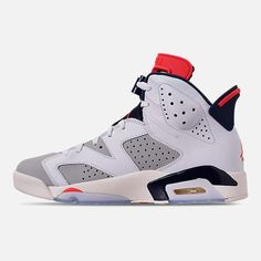 a39d0cce7d5 Left view of Men s Air Jordan Retro 6 Basketball Shoes in White Infrared 23