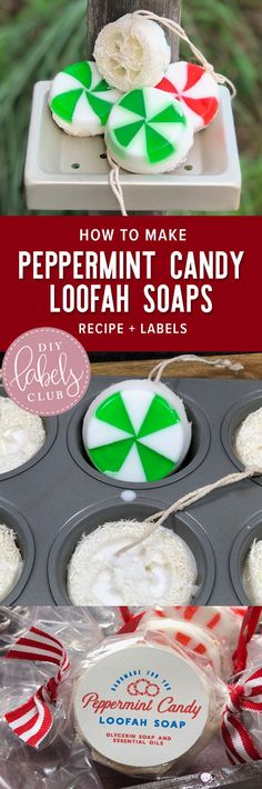 Peppermint Candy Loofah Soaps are a great DIY Craft to do as a gift or with your friends and family - the labels can be found here! Diy Holiday Gifts, Homemade Christmas Gifts, Homemade Gifts, Diy Gifts, Holiday Crafts, Homemade Products, Food Gifts, Handmade Christmas, Peppermint Candy