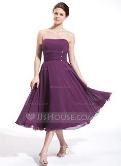 Empire Sweetheart Tea-Length Chiffon Bridesmaid Dress With Ruffle Beading (007026270) - JJsHouse