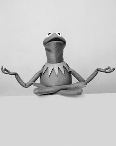 Black & white of Kermit meditating Kermit And Miss Piggy, Kermit The Frog, Jim Henson, Sapo Kermit, Sesame Street Muppets, The Muppet Show, Yoga Dance, Comic, Reaction Pictures
