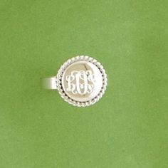 Sterling Silver Monogrammed Ring-Round Beaded Ring