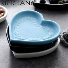 Ceramic Heart Shape Tapas Snack Plate Something Blue Breakfast Dish Breakfast Fruit Salad, Breakfast Plate, Breakfast On The Go, Breakfast Dishes, Eat Breakfast, Cooking Supplies, Kitchen Supplies, Breakfast Slider, Snacks Dishes