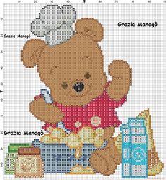 Winnie The Pooh che cucina - schemi punto croce gratis facili unici alfabeti bambini Cross Stitch Cards, Beaded Cross Stitch, Cross Stitching, Winnie Phoo, Cross Stitch Designs, Cross Stitch Patterns, Minnie Baby, Pooh Bear, Disney Winnie The Pooh