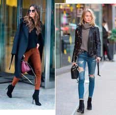 Street style look com modelos usando skinny jeans.