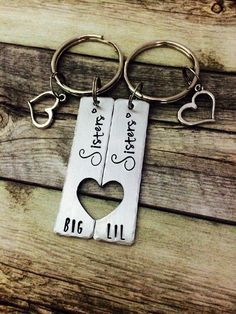 Gifts for sisters big sis little sis matching sister set hand stamped jewelry personalized keychain personalized gift unique gift Unique Gifts For Sister, Little Sister Gifts, Christmas Gifts For Sister, Diy Christmas Gifts, Cheer Sister Gifts, Rakhi Gifts For Sister, Hanukkah Gifts, Christmas Ideas, Sisters Presents