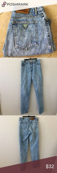 RARE GUESS VINTAGE denim mom jeans Super adorable! These jeans are very high waisted and say size 32. I think they would fit a women's size 10/12 better because they are vintage! Guess Jeans Straight Leg
