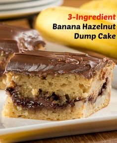 Banana Hazelnut Cake - You can make this dump cake in 30 minutes with just 3 ingredients. Dump, bake, and enjoy!