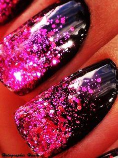 Holiday Hot Pink Diamond Glitter Nails