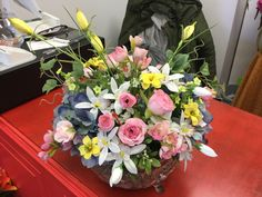 Custom order with soft pinks, blues and yellows by Andi at Silk Florals 2017