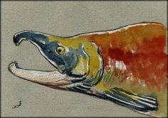 Sockeye salmon original watercolor painting by Juan Bosco