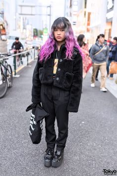 "Narumi is a friendly 19-year-old Spinns staffer who we see often in Harajuku. She describes herself as ""Japan x Philippines x China x Spain - one quarter"". Her look here features pink dip dye hair, a furry resale coat, pleated American Apparel pants & Tokyo Bopper platforms. Check all of Narumi's snaps here! #tokyofashion #streetsnap"