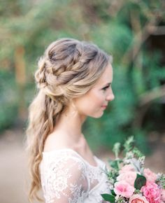 Boho braided wedding hairstyle - Deer Pearl Flowers / http://www.deerpearlflowers.com/wedding-hairstyle-inspiration/boho-braided-wedding-hairstyle/