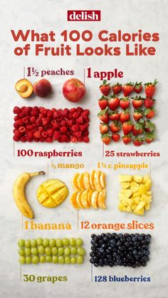 You'll be surprised to know what 100 calories of fresh fruit looks like. Here we gathered a whole list for you, including the sugars in 1 medium apple, 1 medium slices of oranges, 30 grapes, and more. Pick 2 for your 200 calorie snack. 100 Calorie Snacks, Low Calorie Recipes, Diet Recipes, Low Calorie Foods List, 1000 Calorie Meal Plan, Healthy Low Calorie Breakfast, Healthy Breakfast For Weight Loss, Healthy Carbs, Low Carb Diet