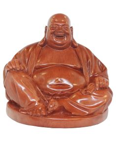 Happy Buddha statue with wood finish. Made in Vietnam, available at Buddha Groove.