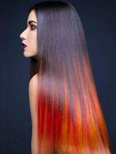 Red hair shows everyone that you're passionate, strong and empowered. Here are 17 different ideas to inspire your next red hair style. Ombre Hair, Flame Hair, Color Fantasia, Blonde Tips, Toni And Guy, Beauty And Fashion, Coloured Hair, Hair Painting, Cool Hair Color