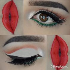Christmas makeup green and red lips Cut crease look