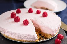 Home made smooth, creamy liqueur raspberry cheesecake. Cake Stock, Raspberry Cheesecake, Cake With Cream Cheese, Irish Cream, Biscuits, Cake Recipes, Sweets, Homemade, Food