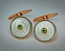 Antique Cufflinks | Gold Diamond and emerald white Enamel Russian Cufflinks by Fabergé