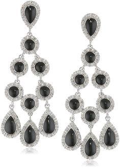 Sterling Silver Diamond Dangle Black Enamel Earrings (1/2 cttw)