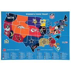538 markets where the dallas cowboys were the most or second most nfl map poster sciox Choice Image