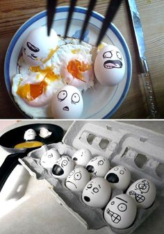 Scared eggs - I decorated all the eggs in my boyfriend's fridge. They looked just like these. It was fun and they turned out super cute <<< lol Funny April Fools Pranks, Funny Pranks, Funny Memes, April Fools Pranks For Adults, Hilarious, Monster Munch, Good Pranks, Egg And I, Egg Art