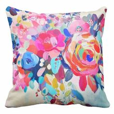 Beautiful Rebecca Yoxall watercolour designer fabric floral cushion. Home decor watercolour floral pillow 30x30 45x45