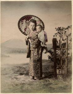 C 1880's Photo Japan Nurse Carrying Baby