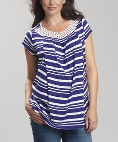 Love this Riviera Stripe Grace Maternity/Nursing Cap-Sleeve Top on #zulily! #zulilyfinds