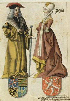 c. 1470s  Albrecht I,Duke of Saxony and his wife Zdenka of Bohemia, [1546 - The Saxon Pedigree (Das Sächsische Stammbuch - Mscr.Dresd.R.3) ]