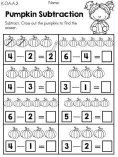 Pumpkin Subtraction >> Part of the Autumn Kindergarten Maths Worksheets Packet Kindergarten Addition Worksheets, Kindergarten Math Worksheets, School Worksheets, Teaching Kindergarten, Math Activities, Halloween Worksheets, Math Subtraction, Math Intervention, Numbers Preschool