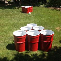 If you need to entertain a large group of people (read: drunkards), use trash cans and a volleyball to play a gigantic game of beer pong.