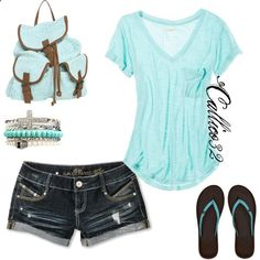 lt. turquoise v neck t, dk destroyed shorts, turquoise flips, lt. turquoise crocheted bag, silver/mint bracelets