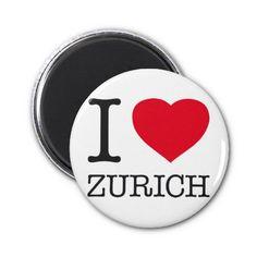 I ♥ ZURICH Round Magnet. $6.75 #Zurich #Switzerland #Suisse #Travel #Magnet