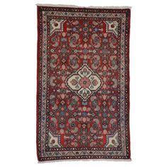 For Sale on - vintage Persian Dergazine Hamadan accent rug with Herati. This hand-knotted wool vintage Persian Hamadan accent rug features a centre medallion Persian Carpet, Persian Rug, Modern Rugs, Mid-century Modern, Types Of Rugs, Entry Rug, Modern Materials, Accent Rugs, Carpet Runner