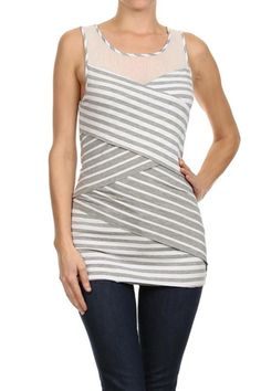 Criss Cross striped & mesh tiered top by Mystree. Super soft jersey knit material, hip length This top hides all! Very slimming! Great with jeans, dress pants or a pencil skirt.   Striped Sleeveless Top by Mystree. Clothing - Tops - Tees & Tanks Clothing - Tops - Sleeveless Washington